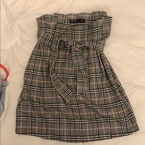 Bershka Plaid Paperbag Waist Mini Skirt